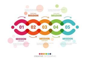 färgglad cirkel infografisk mall med 5 alternativ