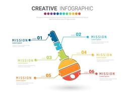 buntes Infografik-Schlüsselkonzept mit 6 Optionen vektor