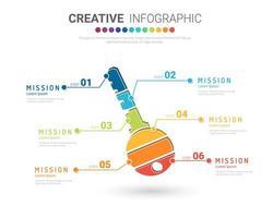 färgglatt infografiskt nyckelkoncept med 6 alternativ