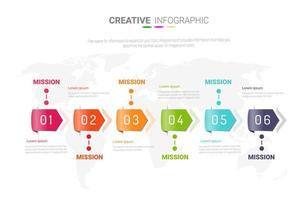 Hochglanzpfeil 6 Schritt Infografik Vorlage