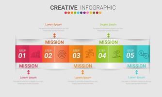 färgglada vikta infografik med 5 alternativ