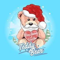 Teddybär Weihnachtsmann hält Herz vektor