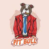 hübsche Bulldogge in Anzug und Krawatte