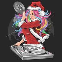 DJ-Mädchen mit Regenbogenhaar im Weihnachtsmannanzug vektor