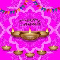 Hintergrund mit Mandala Laterne für glückliches Diwali Festival vektor