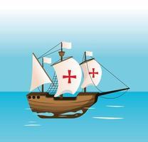 Schiff navigiert auf dem Meer