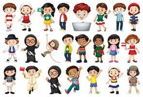 stor uppsättning barn som gör olika aktiviteter vektor