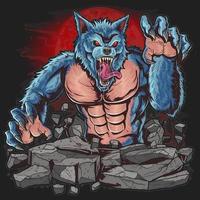 Werwolf mit wildem Gesicht und scharfen Nägeln