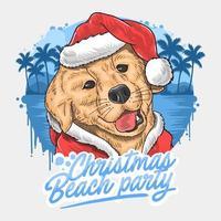 Weihnachtsstrandpartyentwurf mit Hund im Weihnachtsmannanzug