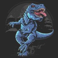 t-rex med en hård rytande design vektor