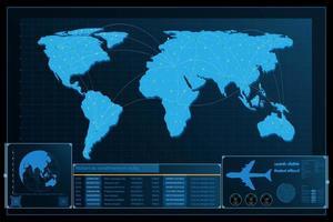 futuristischer abstrakter Weltkartenhintergrund vektor