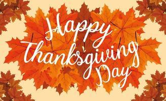 lycklig tacksägelsedag med blad