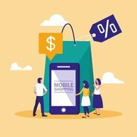 Mini-Leute mit Smartphone und Online-Shopping