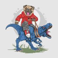 niedlicher Mops, der auf Dinosaurierentwurf sitzt