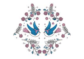 Free Bird Embroidery Vektor