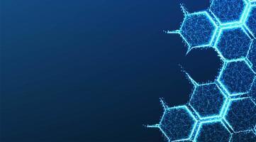 Molekülstruktur bilden Linien und Dreiecke auf Blau vektor