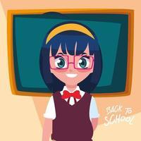 süßes kleines Studentenmädchen in zurück zum Schulplakat