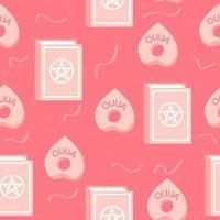 Zauberbuch und Ouija Board Planchette, rosa nahtloses Muster