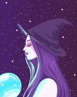 Wahrsagerin, die Energie von einem magischen Objekt absorbiert