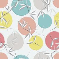 abstraktes Muster mit Blättern und Pastellkreisen