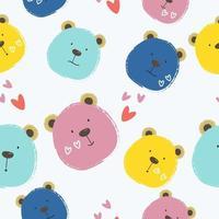niedliches handgezeichnetes Bärenkarikaturmuster
