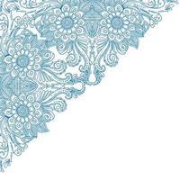 künstlerisches blaues Blumeneckenmuster