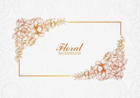 schöne dekorative Hochzeitsblumenkarte mit Rahmen vektor
