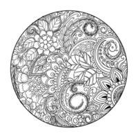cirkulär dekorativ mandala blommig ram