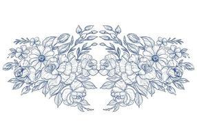 Hand zeichnen blaue botanische Blumenkarte auf Weiß