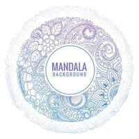 kreisförmiger blauer lila dekorativer Mandala-Blumenhintergrund vektor