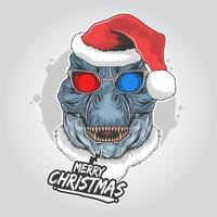 Frohe Weihnachten Design mit Dinosaurier tragen Weihnachtsmütze