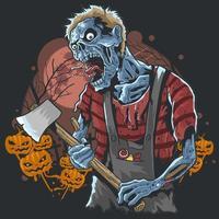Halloween-Zombie, der eine Axt mit Kürbishintergrund trägt