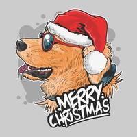 süßer Golden Retriever Hund, der einen Weihnachtsmannhut trägt