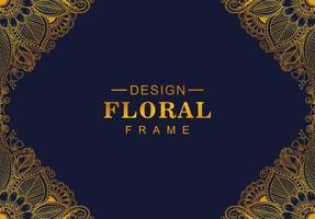 künstlerischer dekorativer goldener Blumenrahmen auf Blau vektor