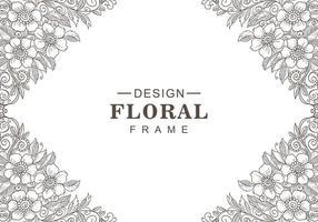 moderner dekorativer schwarz-weißer Blumenrahmen vektor