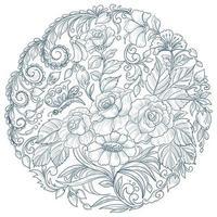 dekorativ cirkulär blommig mandala design