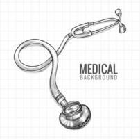 handgezeichnete medizinische Stethoskopskizze vektor
