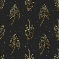 guld lövverk sömlösa mönster vektor