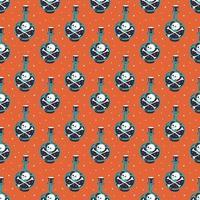 nahtloses Halloween-Muster mit Giftflasche
