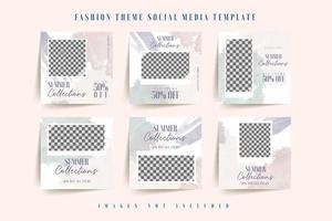 tropiska blad blå lila sociala medier mall vektor