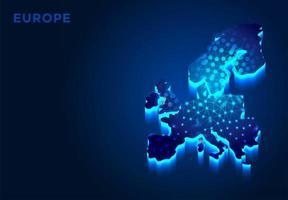 Europa Kontinent in der blauen Silhouette vektor