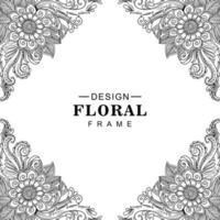 künstlerischer dekorativer Blumenrahmenmusterhintergrund vektor