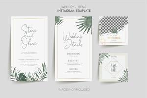 bröllop inbjudningskort med tropisk blomma vektor