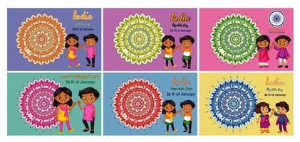 Satz von Feiertagsplakatentwürfen mit glücklichen Kindern