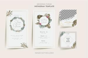 blommig bröllop inbjudningskort vektor