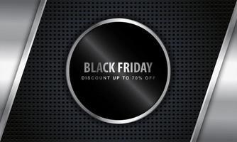 Black Friday Metallic Design mit Rabatt Angebot Rahmen vektor