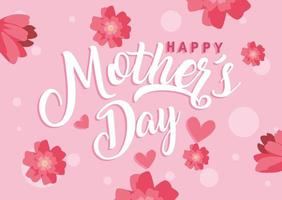 glad mors dagskort med blommadekoration vektor