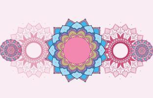rosa, blå, lila bakgrund mandala design med mandalaer