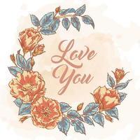 handgezeichneter Blumenkranz