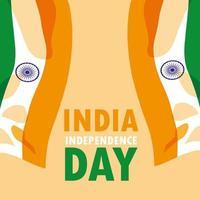 indisk självständighetsdagen affisch med flagga vektor